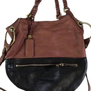 orYANY Two-tone Zip Satchel Leather Crossbody